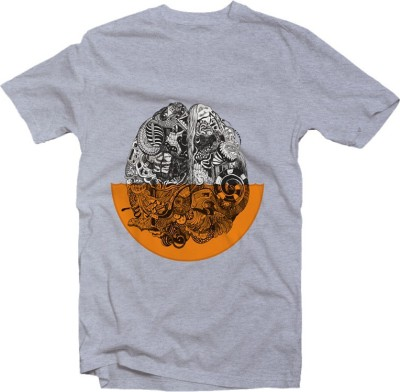 twine tree Graphic Print, Printed Men's Round Neck, V-neck Grey T-Shirt