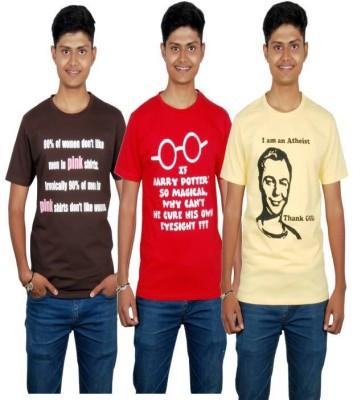 Molecules Printed Men's Round Neck Brown, Red, Yellow T-Shirt