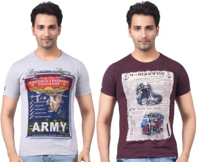 Four Squares Graphic Print Men's Round Neck Grey, Maroon T-Shirt