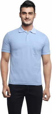 Ashdan Solid Men's Polo Neck Light Blue T-Shirt