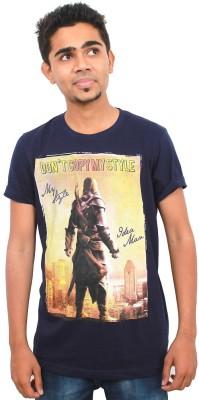 Zebra Path Printed Men's Round Neck Dark Blue T-Shirt