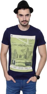 People Printed Men's Round Neck Dark Blue T-Shirt