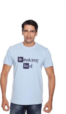 Daddy's Capes Printed Men's Round Neck Light Blue, Dark Blue T-Shirt