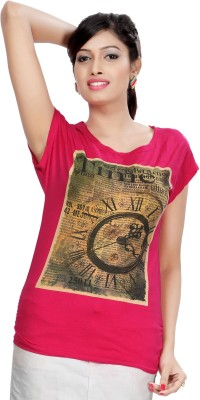 Comix Graphic Print Women's Round Neck Pink T-Shirt