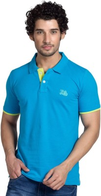 YOO Solid Men's Polo Neck Blue T-Shirt
