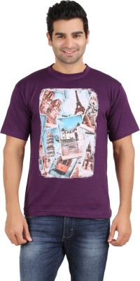 Humtees Printed Men's Round Neck Purple T-Shirt