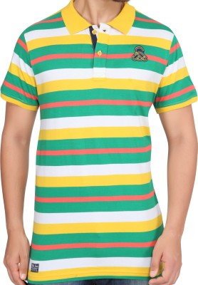 Stoke Striped Men's Polo Neck Multicolor T-Shirt
