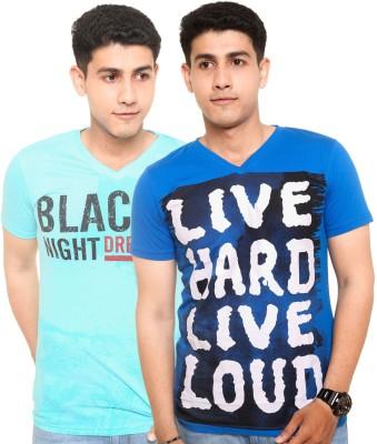 Zwizdot Printed Men,s V-neck Light Blue, Blue T-Shirt