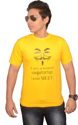 College Jugaad Printed Men's Round Neck Yellow T-Shirt