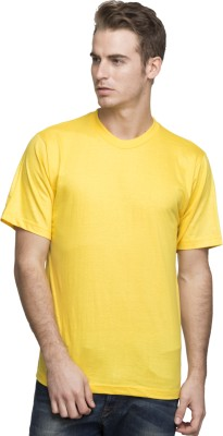 Lambency Solid Men's Round Neck Yellow T-Shirt