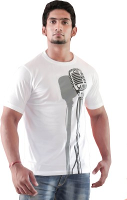 Indrow Printed Men's Round Neck White T-Shirt