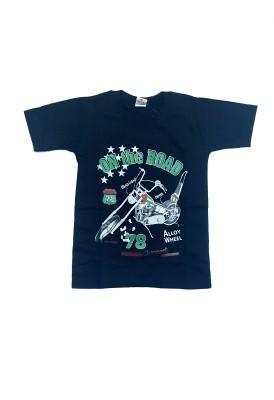 Groverz Printed Boy's Round Neck Black T-Shirt