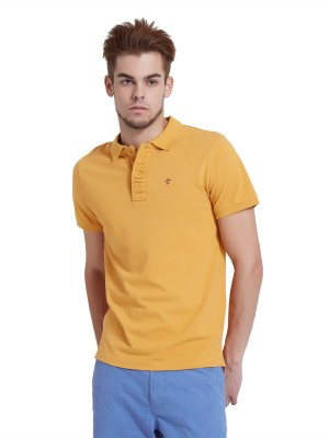 Breakbounce Solid Men's Polo Neck Yellow T-Shirt