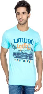 Tee Kadai Printed Men's Round Neck Light Blue T-Shirt