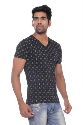 Pezzava Self Design Men's V-neck Reversible Black, White T-Shirt