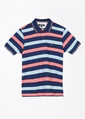Arrow Sports Striped Men's Polo Blue T-Shirt