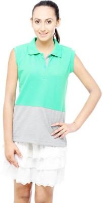 Unicolr Solid Women's Polo Neck Green, Grey T-Shirt