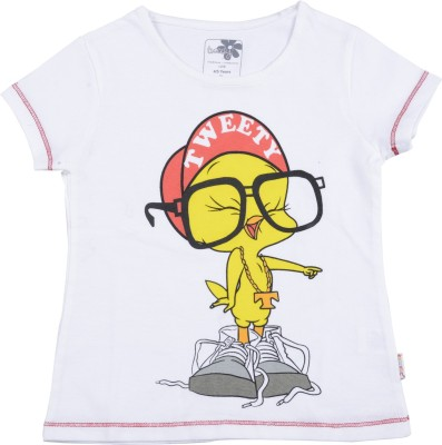TWEETY Printed Girl's Round Neck White T-Shirt