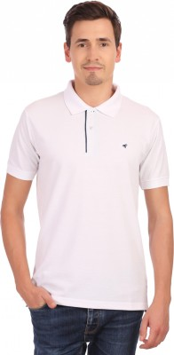 Neva Self Design Men's Polo Neck White T-Shirt