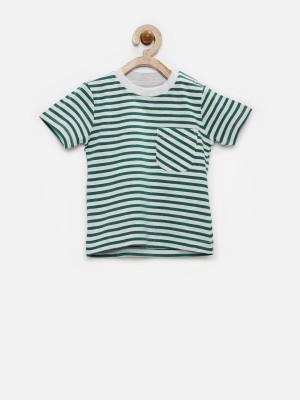 YK Striped Baby Boy's Round Neck Grey T-Shirt