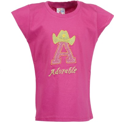 Crackles Printed Girl's Round Neck Multicolor T-Shirt