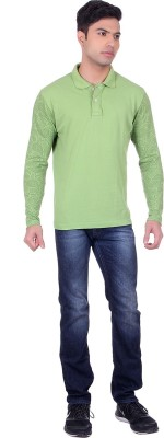 Black Sparrow Printed Men's Polo Neck Green T-Shirt