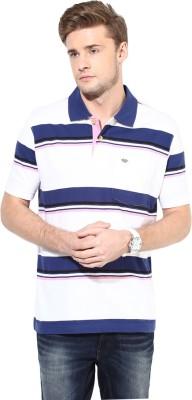 UV&W Striped Men's Polo Neck Blue T-Shirt