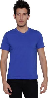 Threadz Solid Men's V-neck Blue T-Shirt