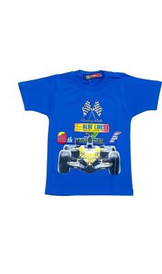 Groverz Printed Boy's Round Neck Blue T-Shirt