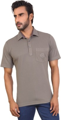 Valeta Solid Men's Polo Neck Grey T-Shirt