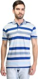 Octave Striped Men's Polo Neck Blue T-Sh...