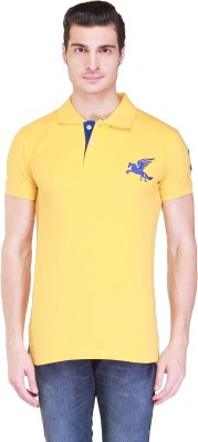 Right Shape Solid Men's Polo Yellow T-Shirt