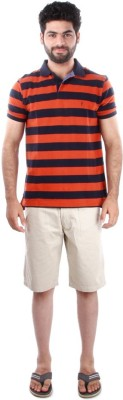 Indian Terrain Striped Men's Polo Orange T-Shirt