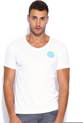 Wrangler Solid Men's V-neck White T-Shirt