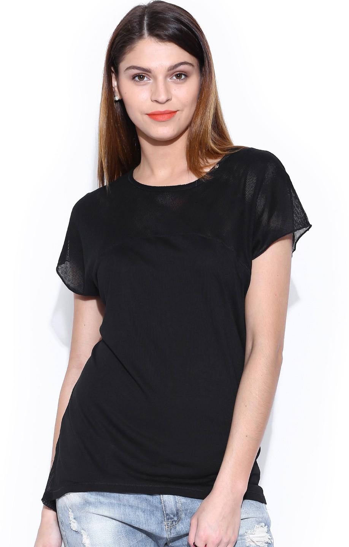GAS Solid Womens Round Neck Black T-Shirt
