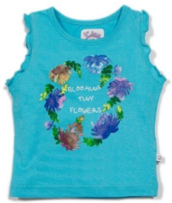 Solittle Graphic Print Baby Girl's Round Neck Blue T-Shirt