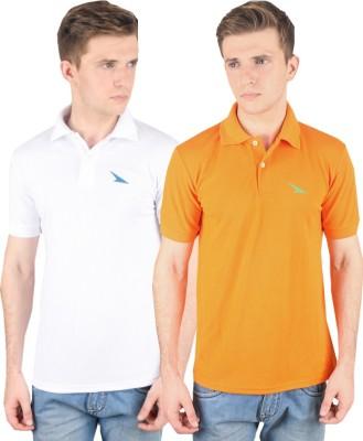 PRO Lapes Solid Men's Polo Neck White, Orange T-Shirt