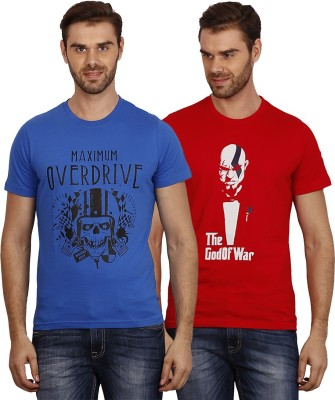 Crush on Craze Printed Men's Round Neck Blue, Red T-Shirt
