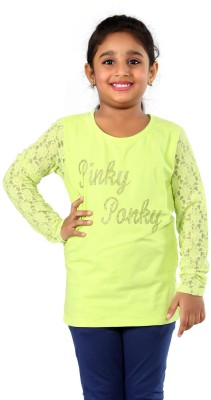 PINKY PONKY Solid Girl's Round Neck Green T-Shirt