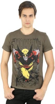 Planet Superheroes Graphic Print Men's Round Neck Brown, Yellow T-Shirt