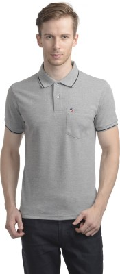 WRIG Solid Men's Polo Neck Grey T-Shirt