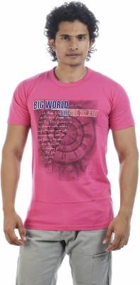 Adventure Printed Men's Round Neck Pink T-Shirt