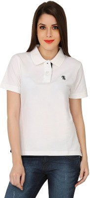The Cotton Company Solid Women's Polo Neck White T-Shirt
