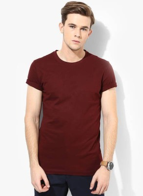 Friskers Solid Men's Round Neck Maroon T-Shirt