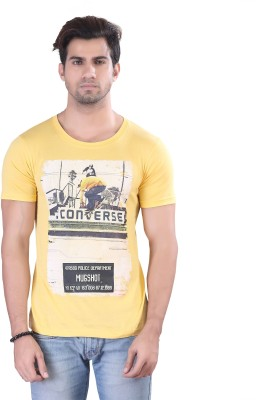 Contrast Graphic Print Men's Round Neck Yellow T-Shirt
