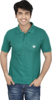 French Circle Solid Men's Polo Neck Green T-Shirt