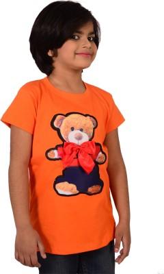 tiny tots Embellished, Printed, Applique Girl's Round Neck Orange T-Shirt