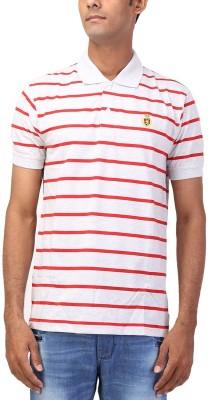 CNC Striped Men's Flap Collar Neck T-Shirt
