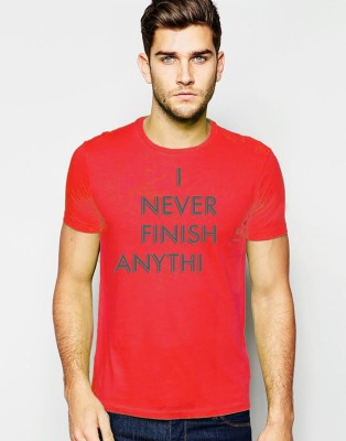 Young Trendz Printed Men,s Round Neck Red T-Shirt