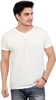Stephen Armor Solid Men's V-neck White T-Shirt